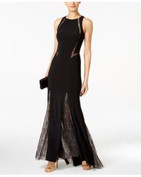 Xscape   Black Illusion Lace-trim Mermaid Gown   Lyst