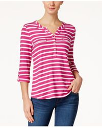 Charter Club | Red Striped Utility Henley Top, Only At Macy's | Lyst