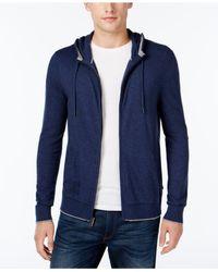 Michael Kors | Blue Men's Marled Knit Zip-front Hoodie for Men | Lyst