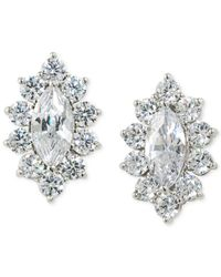 Carolee | Metallic Marquee Cubic Zirconia Button Clip-on Earrings | Lyst