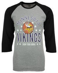 47 Brand Gray Men's Minnesota Vikings Lockdown Raglan T-shirt for men