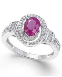 Macy's - Metallic Ruby (7/8 Ct. T.w.) And Diamond (3/8 Ct. T.w.) Ring In 10k White Gold - Lyst