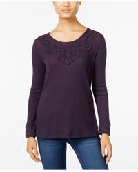 Style & Co. | Purple Petite Lace-applique Top, Only At Macy's | Lyst