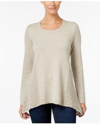 Style & Co. | Multicolor Petite Pointelle-detail Sweater, Only At Macy's | Lyst