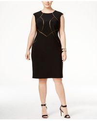 INC International Concepts | Black Plus Size Mesh-inset Sheath Dress | Lyst