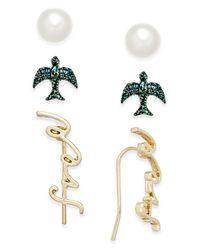 Macy's - Metallic Gold-tone 3-pc. Set Freedom-inspired Earrings - Lyst