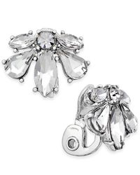 Charter Club - Metallic Crystal Clip-on Earrings - Lyst