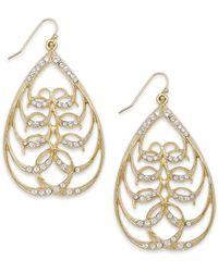 2028 - Metallic Gold-tone Crystal Openwork Teardrop Earrings - Lyst