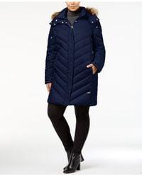 Kenneth Cole - Blue Plus Size Faux-fur-trim Quilted Down Coat - Lyst