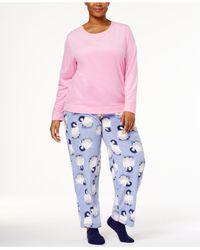 Hue - Pink Plus Size Sueded Fleece Top & Printed Pants With Socks Pajama Set - Lyst
