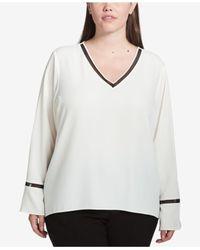 CALVIN KLEIN 205W39NYC - White Plus Size Mesh-inset V-neck Top - Lyst