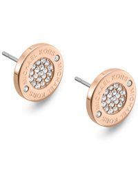 Michael Kors - Metallic Crystal Pave Logo Stud Earrings - Lyst