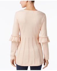 Style & Co. - Pink Ruffled Pleated Sweater - Lyst