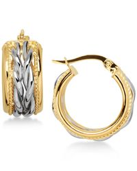 Macy's - Metallic Two-tone Braided Hoop Earrings In 14k Gold And White Gold - Lyst