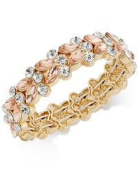 Charter Club | Metallic Gold-tone Pink And Clear Crystal Stretch Bracelet | Lyst