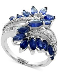 Effy Collection | Blue Sapphire (3-1/5 Ct. T.w.) And Diamond (3/8 Ct. T.w.) Ring In 14k White Gold | Lyst