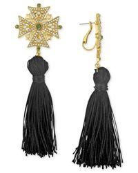 RACHEL Rachel Roy - Black Gold-tone Tassel Drop Earrings - Lyst
