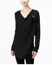 INC International Concepts | Black Petite Ruffled Draped Sweater, Only At Macy's | Lyst