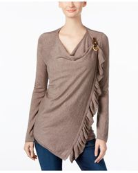 INC International Concepts | Brown Ruffled Wrap Sweater, Only At Macy's | Lyst