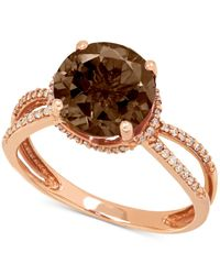 Macy's | Metallic Smoky Quartz (2-1/2 Ct. T.w.) And Diamond (1/6 Ct. T.w.) Ring In 14k Rose Gold | Lyst