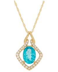 Macy's | Metallic Apatite (1-3/8 Ct. T.w.) And Diamond (16 Ct. T.w.) Pendant Necklace In 14k Gold | Lyst