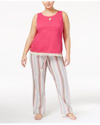 Lucky Brand - Pink Plus Size Tank Top And Printed Pants Pajama Set - Lyst