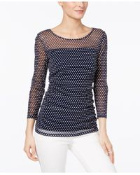 INC International Concepts | Blue Illusion Polka-dot Top, Only At Macy's | Lyst