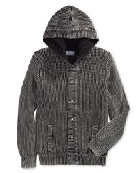 American Rag | Black Men's Chunky-knit Hooded Cardigan With Fleece Lining, Only At Macy's for Men | Lyst