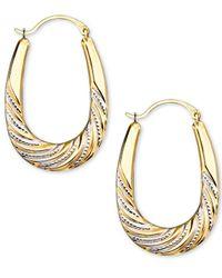 Macy's | Metallic Beaded Oval Hoop Earrings In Rhodium & 14k Gold | Lyst