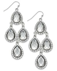 INC International Concepts - Metallic Gold-tone Jet Black Teardrop Chandelier Earrings - Lyst