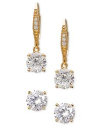 Giani Bernini | Metallic 2-pc. Set Cubic Zirconia Stud And Drop Earrings In 18k Gold-plated Sterling Silver | Lyst