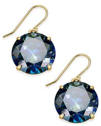 kate spade new york | Black Shine On Gold-tone Crystal Drop Earrings | Lyst