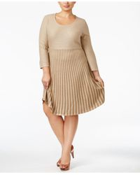 Calvin Klein - Natural Plus Size Skater Sweater Dress - Lyst