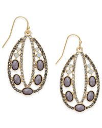 INC International Concepts | Metallic Gold-tone Jet Stone And Pavé Decorative Drop Earrings | Lyst
