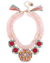 Betsey Johnson | Pink Rose Gold-tone Imitation Pearl And Stone Cluster Statement Necklace | Lyst