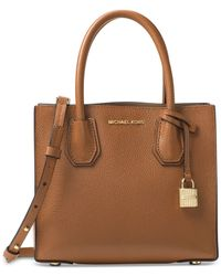Michael Kors | Brown Studio Collection Mercer Medium Bonded-leather Crossbody | Lyst