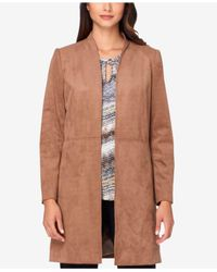 Tahari | Brown Long Faux-suede Jacket | Lyst