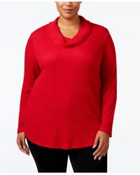 Style & Co. | Red Plus Size Cowl-neck Top | Lyst