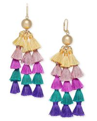 INC International Concepts - Metallic I.n.c. Gold-tone Ball & Multicolor Tassel Chandelier Earrings, Created For Macy's - Lyst