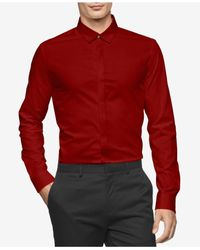 Calvin Klein | Red Men's Twill Contrast-trim Shirt for Men | Lyst