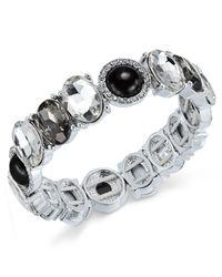 Charter Club | Metallic Silver-tone Jet Stone Crystal Stretch Bracelet | Lyst