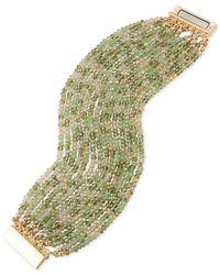 ABS By Allen Schwartz | Metallic Gold-tone Green & Clear Beaded Stretch Bracelet | Lyst