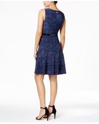 Tommy Hilfiger Blue Denim Print Jersey Dress