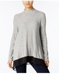 Style & Co. | Gray Petite Chiffon-hem Mock-neck Top | Lyst
