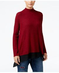 Style & Co. | Red Petite Chiffon-hem Mock-neck Top | Lyst