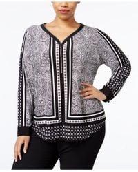 INC International Concepts | Black Plus Size Printed Zip-up Top | Lyst