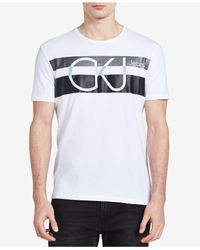 Calvin Klein Jeans - White Men's Stripe Logo-print T-shirt for Men - Lyst