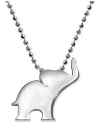 Alex Woo - Metallic Elephant Pendant Necklace In Sterling Silver - Lyst