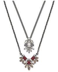 ABS By Allen Schwartz - Metallic Silver-tone Layered Pendant Necklace - Lyst