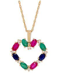 Macy's   Metallic Precious Gemstone Heart Pendant Necklace (2-5/8 Ct. T.w.) In 14k Gold   Lyst
